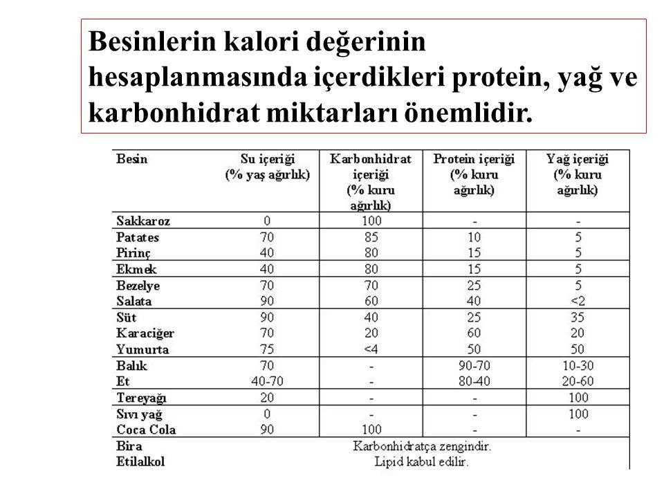 Besinlerin kalori değerinin hesaplanmasında içerdikleri protein, yağ ve karbonhidrat miktarları önemlidir.