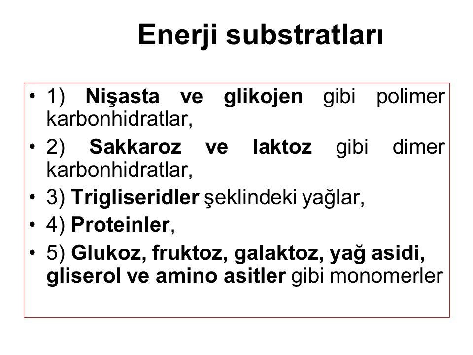 Enerji substratları 1) Nişasta ve glikojen gibi polimer karbonhidratlar, 2) Sakkaroz ve laktoz gibi dimer karbonhidratlar,