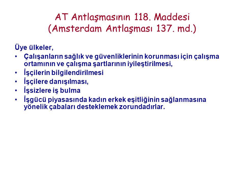 AT Antlaşmasının 118. Maddesi (Amsterdam Antlaşması 137. md.)