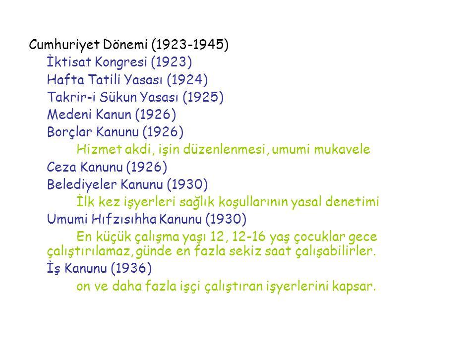 Cumhuriyet Dönemi (1923-1945) İktisat Kongresi (1923) Hafta Tatili Yasası (1924) Takrir-i Sükun Yasası (1925)