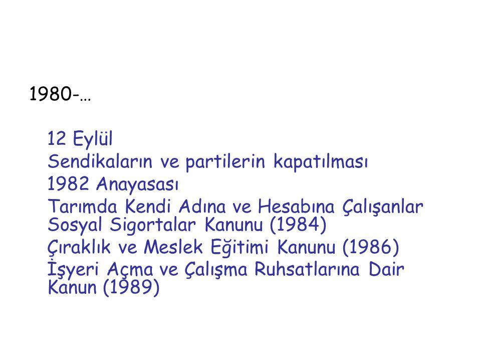 1980-… 12 Eylül. Sendikaların ve partilerin kapatılması. 1982 Anayasası.