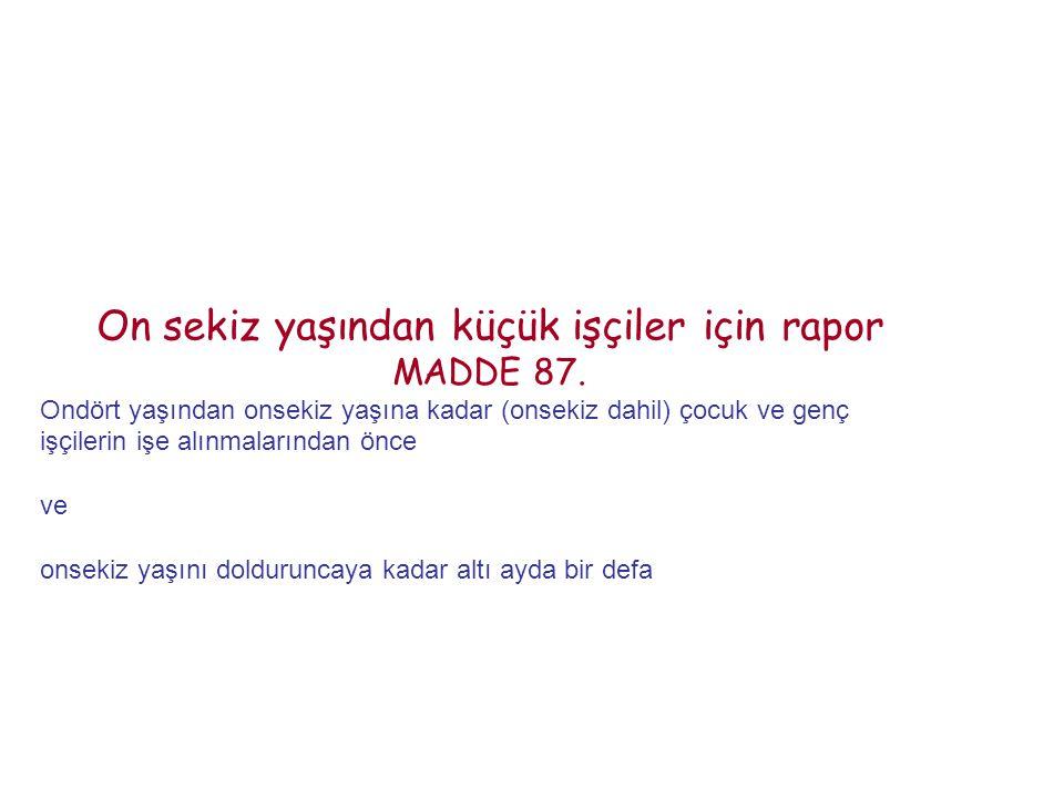On sekiz yaşından küçük işçiler için rapor MADDE 87.