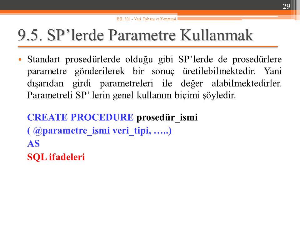 9.5. SP'lerde Parametre Kullanmak