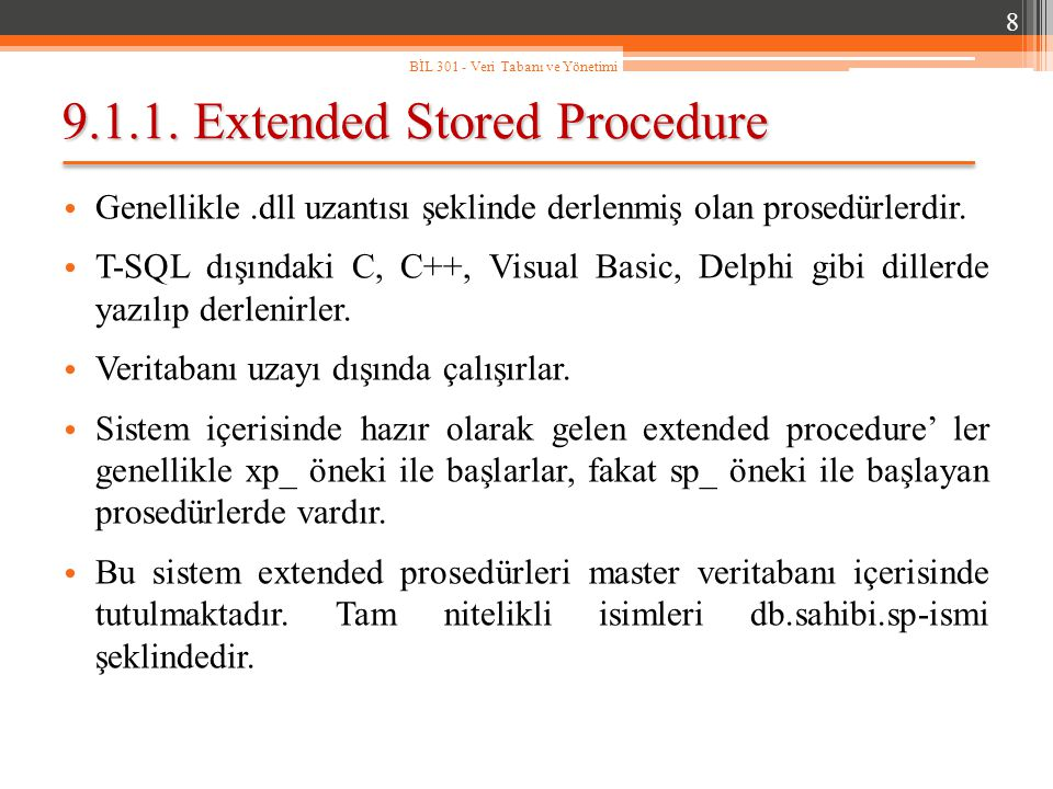 9.1.1. Extended Stored Procedure