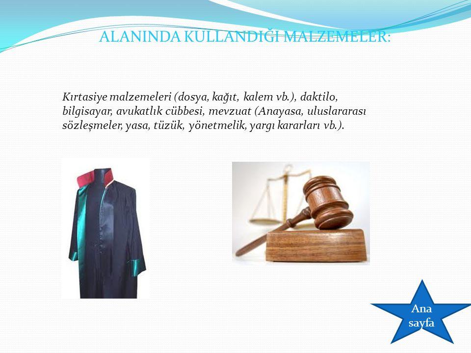 ALANINDA KULLANDIĞI MALZEMELER: