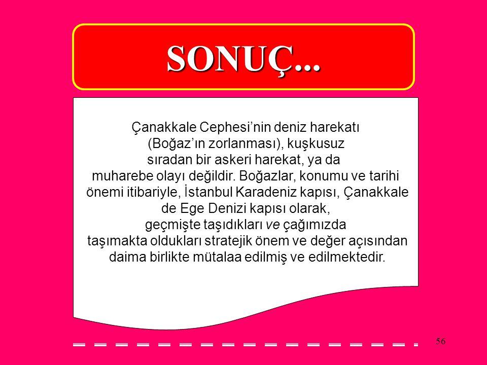SONUÇ... Çanakkale Cephesi'nin deniz harekatı
