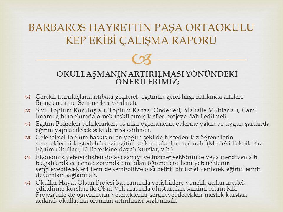 BARBAROS HAYRETTİN PAŞA ORTAOKULU KEP EKİBİ ÇALIŞMA RAPORU