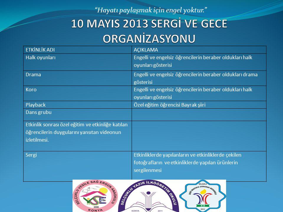 10 MAYIS 2013 SERGİ VE GECE ORGANİZASYONU