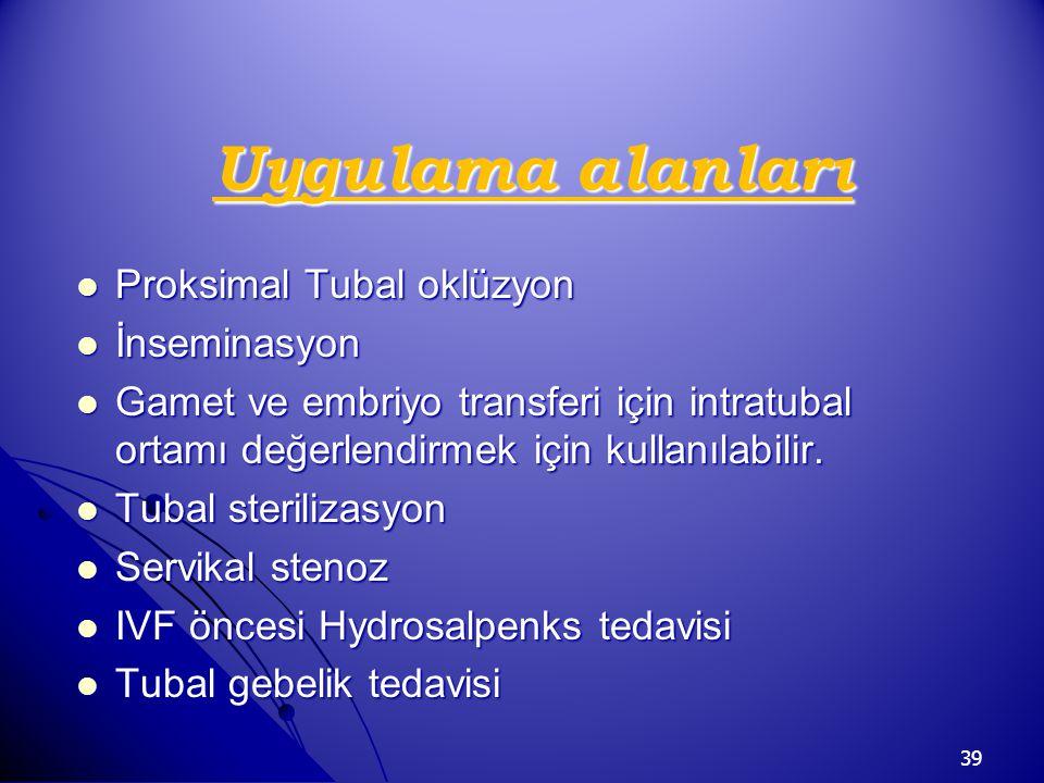 Uygulama alanları Proksimal Tubal oklüzyon İnseminasyon