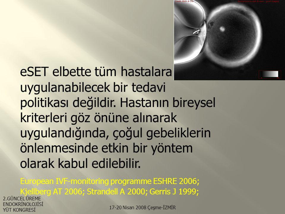 eSET elbette tüm hastalara uygulanabilecek bir tedavi politikası değildir. Hastanın bireysel kriterleri göz önüne alınarak uygulandığında, çoğul gebeliklerin önlenmesinde etkin bir yöntem olarak kabul edilebilir. European IVF-monitoring programme ESHRE 2006; Kjellberg AT 2006; Strandell A 2000; Gerris J 1999;