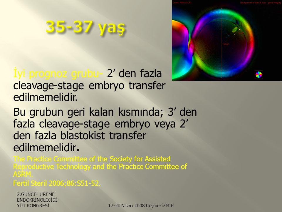 35-37 yaş İyi prognoz grubu- 2' den fazla cleavage-stage embryo transfer edilmemelidir.