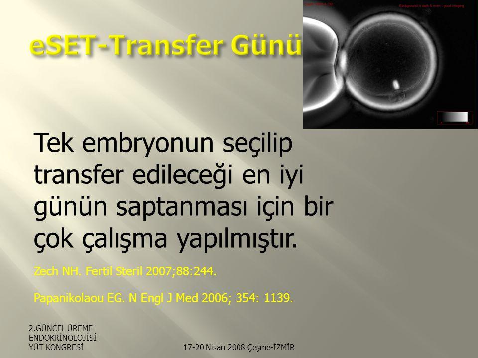 eSET-Transfer Günü Tek embryonun seçilip transfer edileceği en iyi günün saptanması için bir çok çalışma yapılmıştır.
