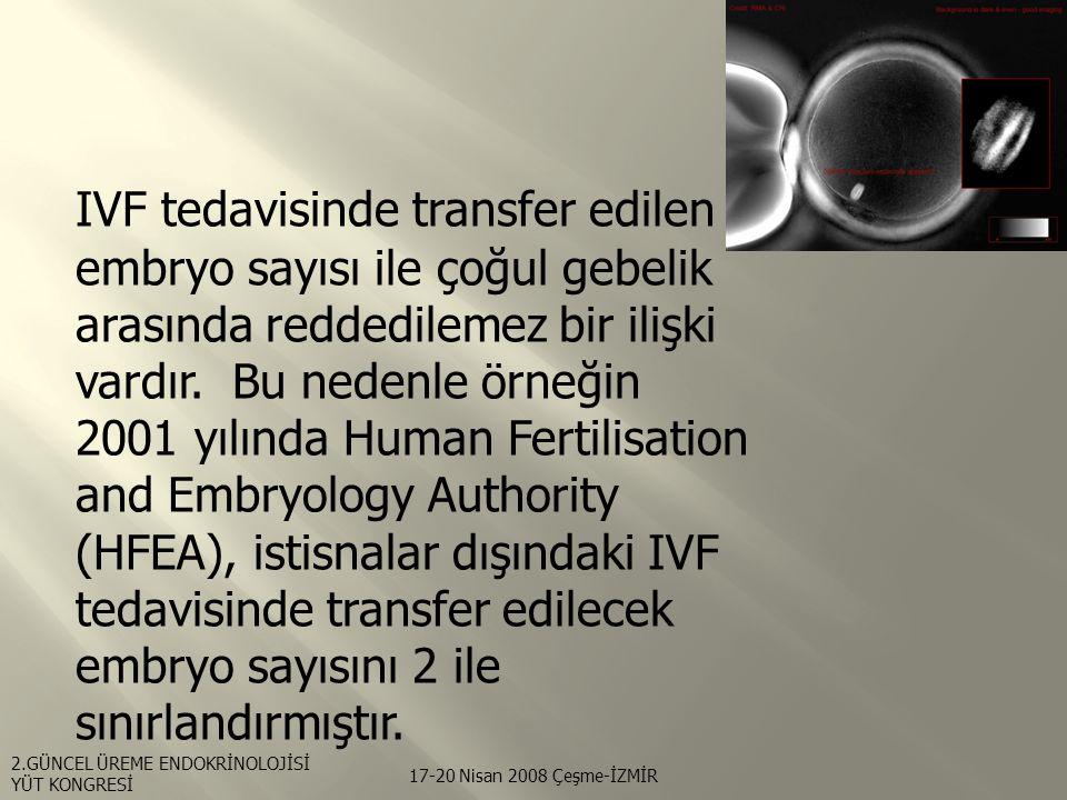 IVF tedavisinde transfer edilen embryo sayısı ile çoğul gebelik arasında reddedilemez bir ilişki vardır. Bu nedenle örneğin 2001 yılında Human Fertilisation and Embryology Authority (HFEA), istisnalar dışındaki IVF tedavisinde transfer edilecek embryo sayısını 2 ile sınırlandırmıştır.