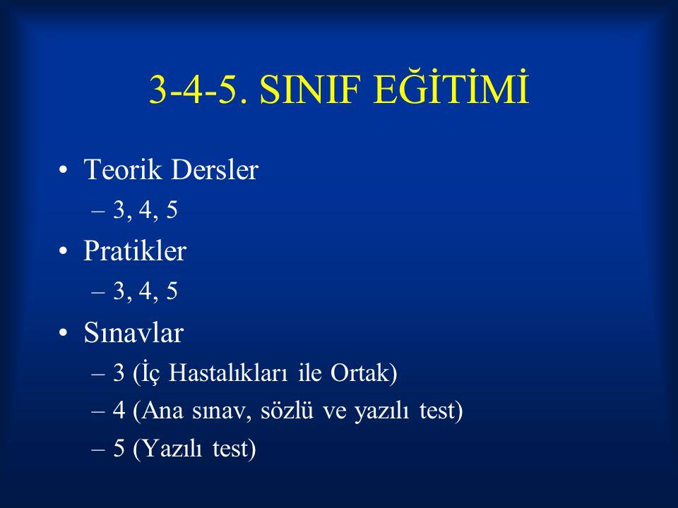 3-4-5. SINIF EĞİTİMİ Teorik Dersler Pratikler Sınavlar 3, 4, 5