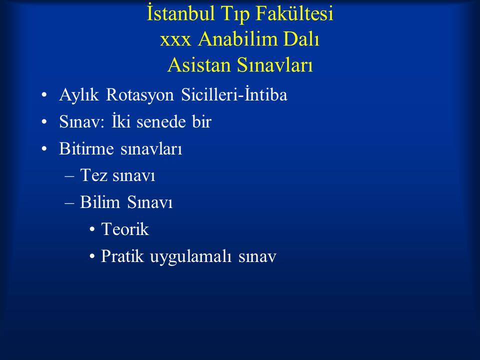 İstanbul Tıp Fakültesi xxx Anabilim Dalı Asistan Sınavları