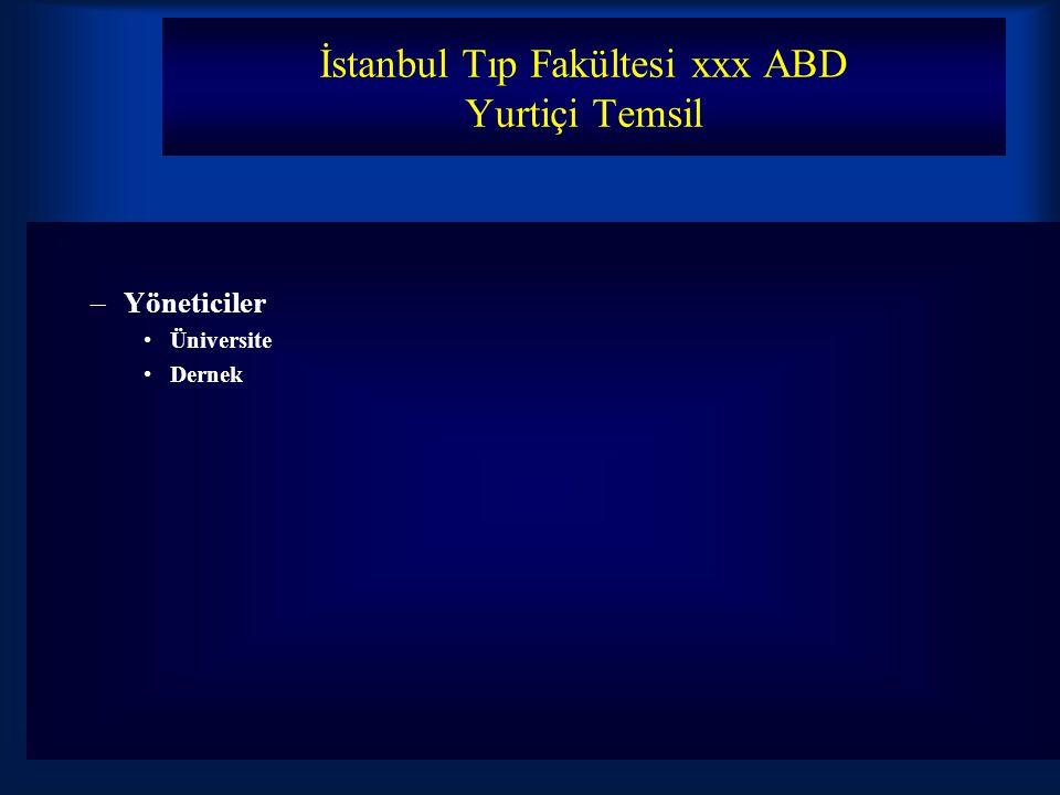 İstanbul Tıp Fakültesi xxx ABD Yurtiçi Temsil