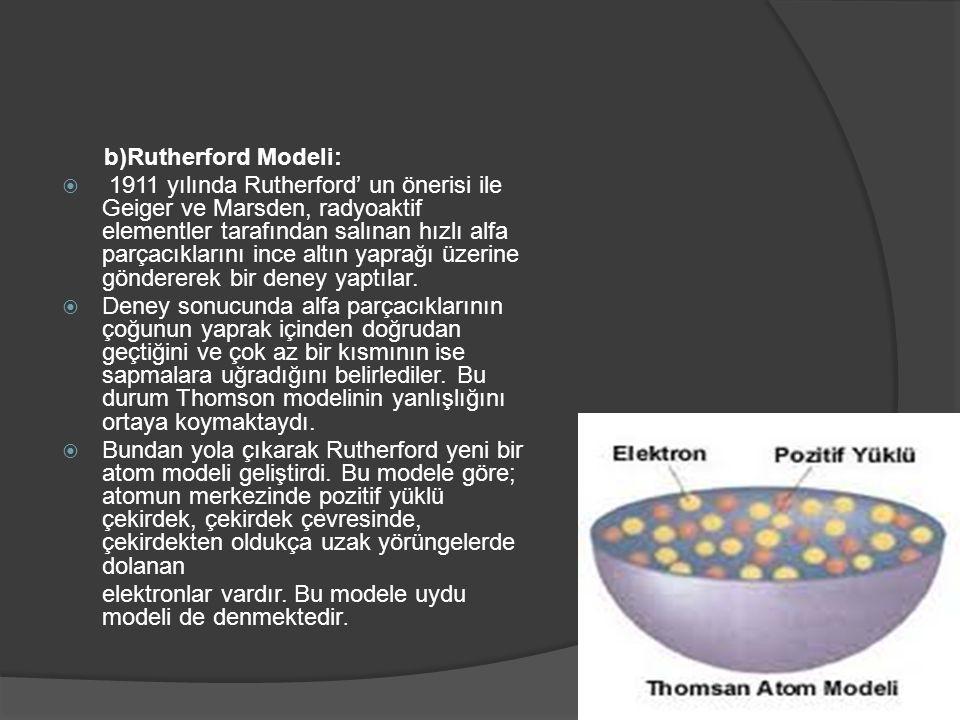 elektronlar vardır. Bu modele uydu modeli de denmektedir.