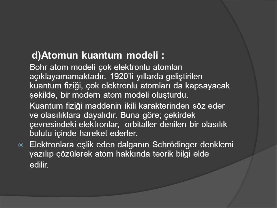 d)Atomun kuantum modeli :
