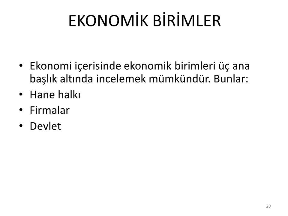 EKONOMİK BİRİMLER Ekonomi içerisinde ekonomik birimleri üç ana başlık altında incelemek mümkündür. Bunlar: