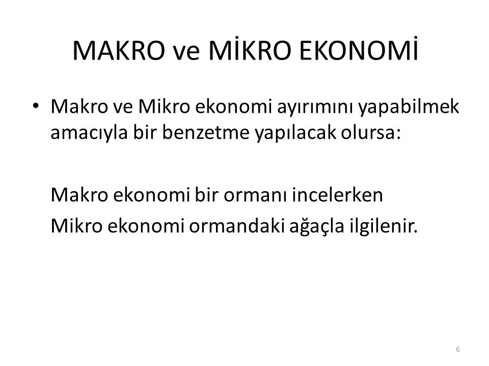 MAKRO ve MİKRO EKONOMİ Makro ve Mikro ekonomi ayırımını yapabilmek amacıyla bir benzetme yapılacak olursa: