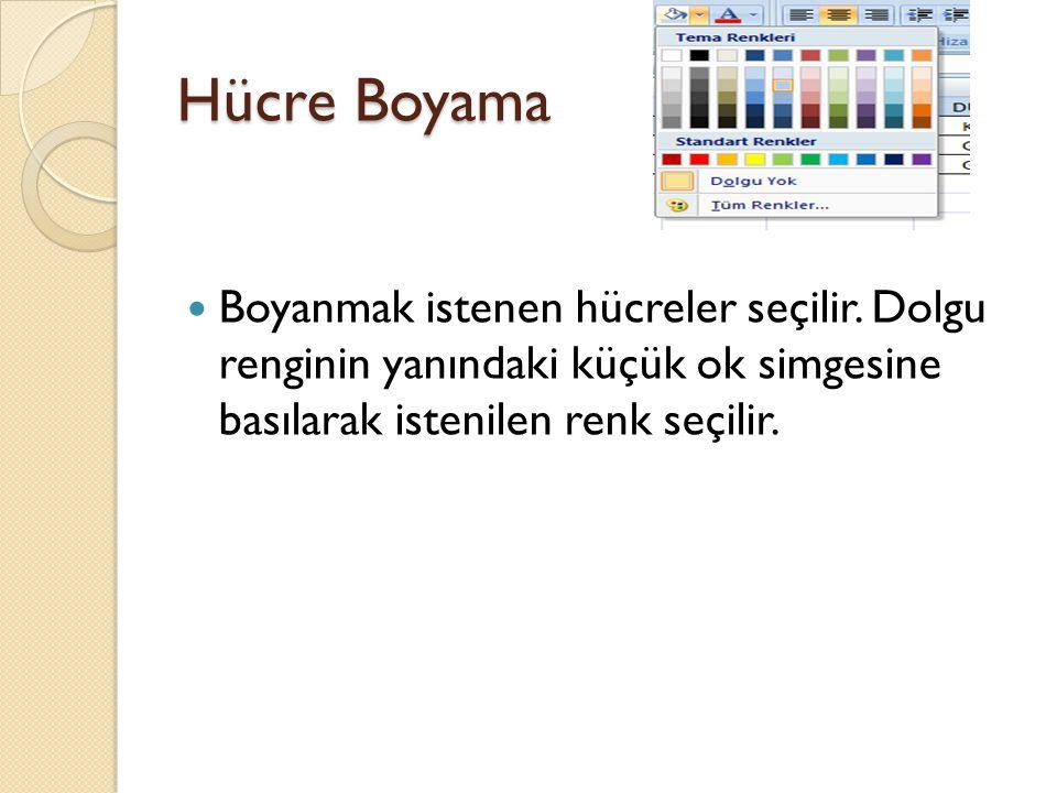 Hücre Boyama Boyanmak istenen hücreler seçilir.