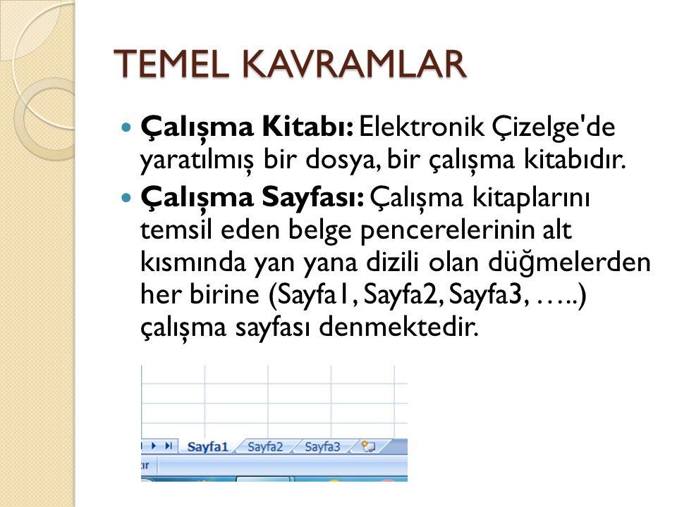 TEMEL KAVRAMLAR Çalışma Kitabı: Elektronik Çizelge de yaratılmış bir dosya, bir çalışma kitabıdır.