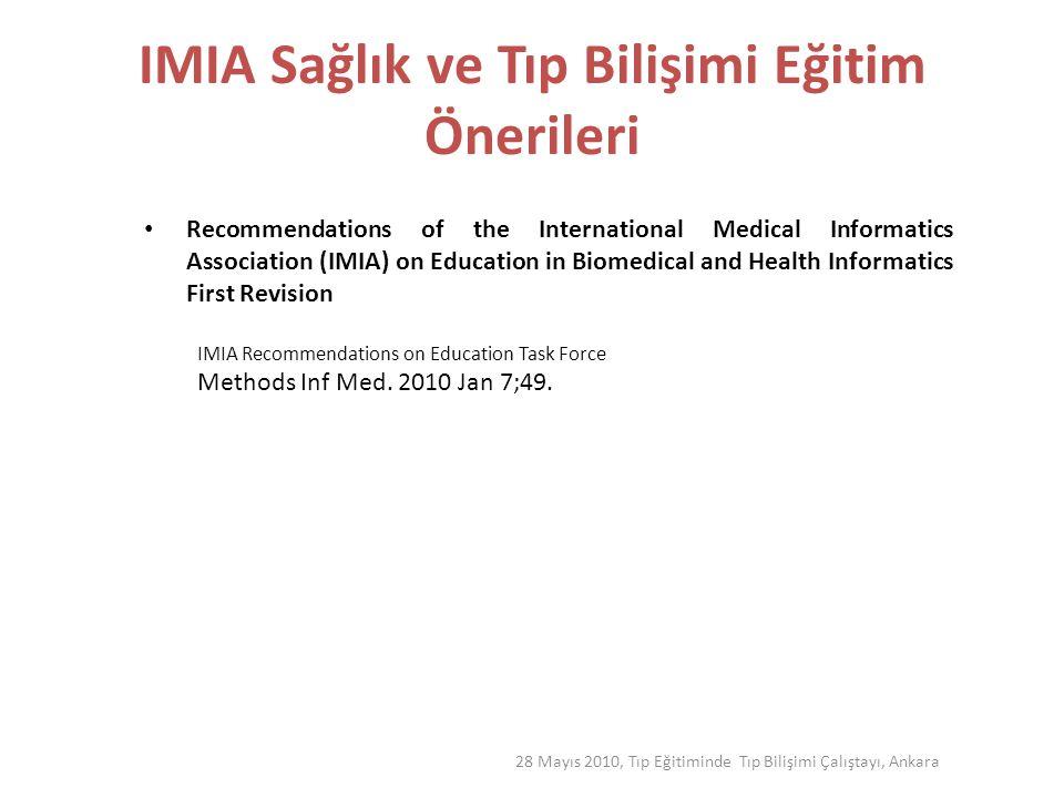 IMIA Sağlık ve Tıp Bilişimi Eğitim Önerileri