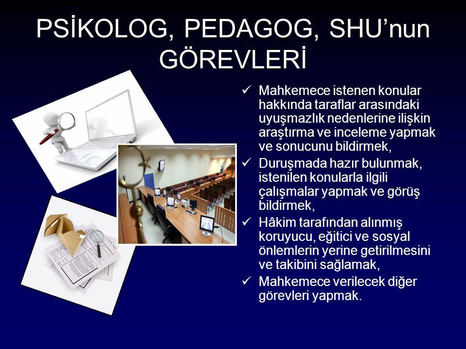 PSİKOLOG, PEDAGOG, SHU'nun GÖREVLERİ