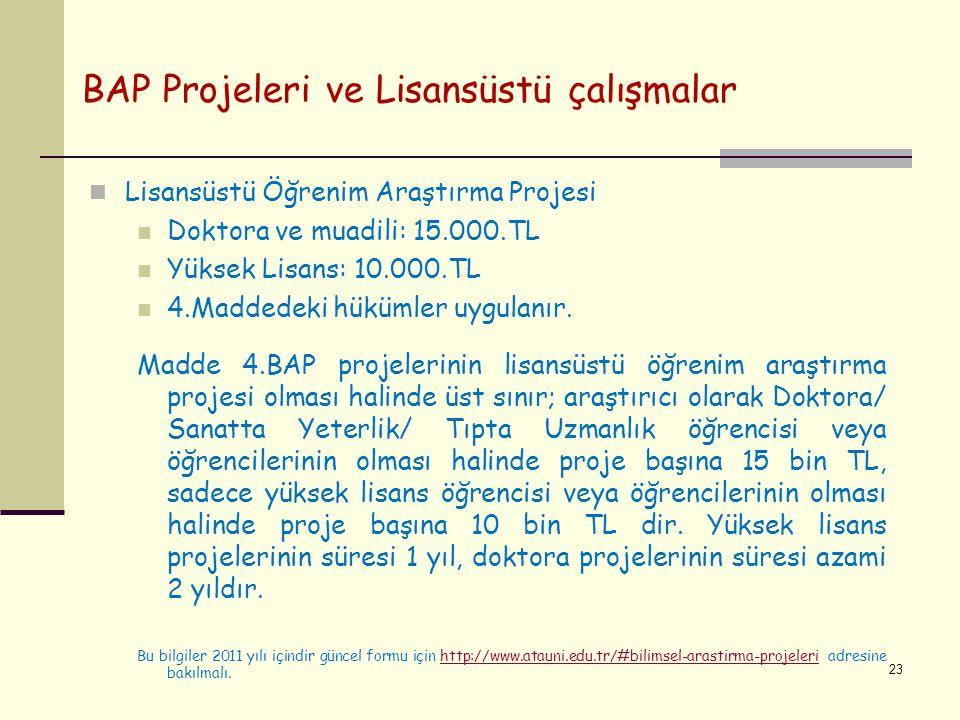 BAP Projeleri ve Lisansüstü çalışmalar