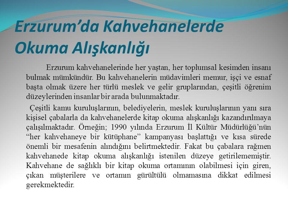 Erzurum'da Kahvehanelerde Okuma Alışkanlığı