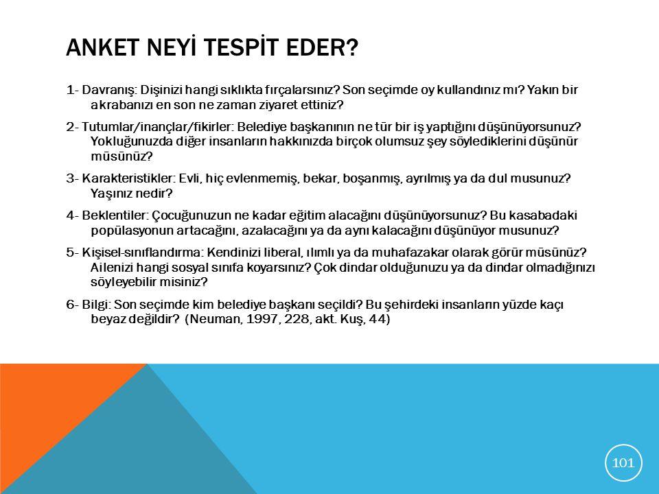 ANKET NEYİ TESPİT EDER