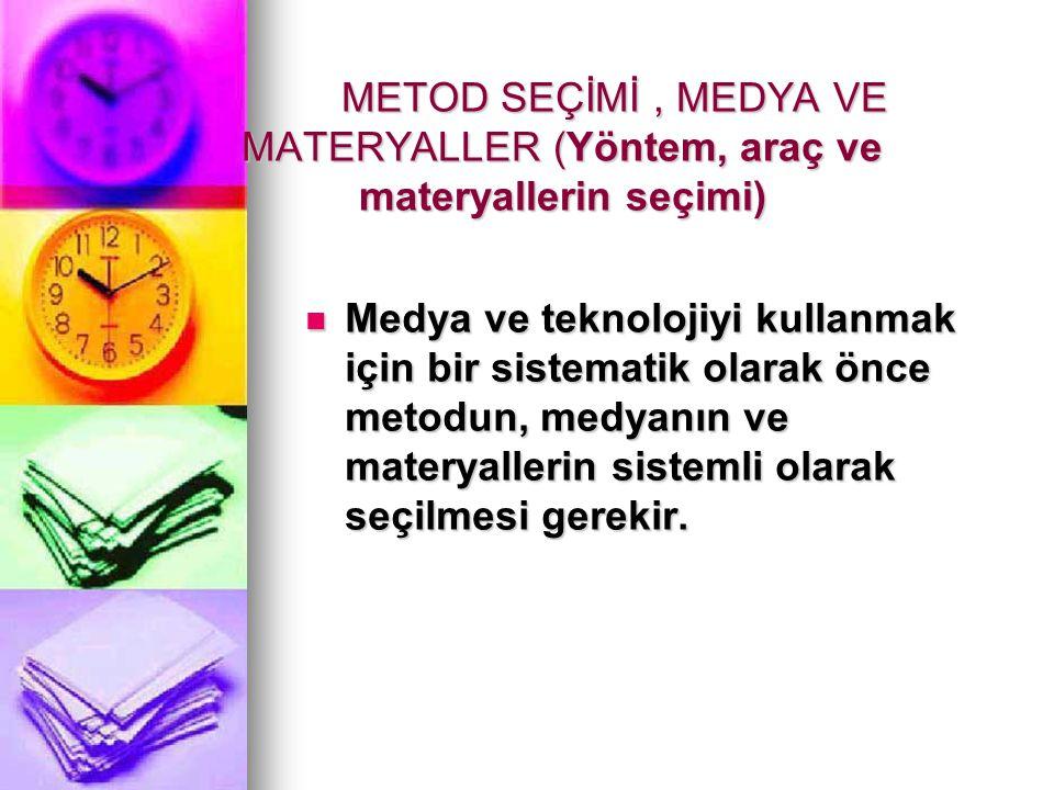 METOD SEÇİMİ , MEDYA VE MATERYALLER (Yöntem, araç ve materyallerin seçimi)