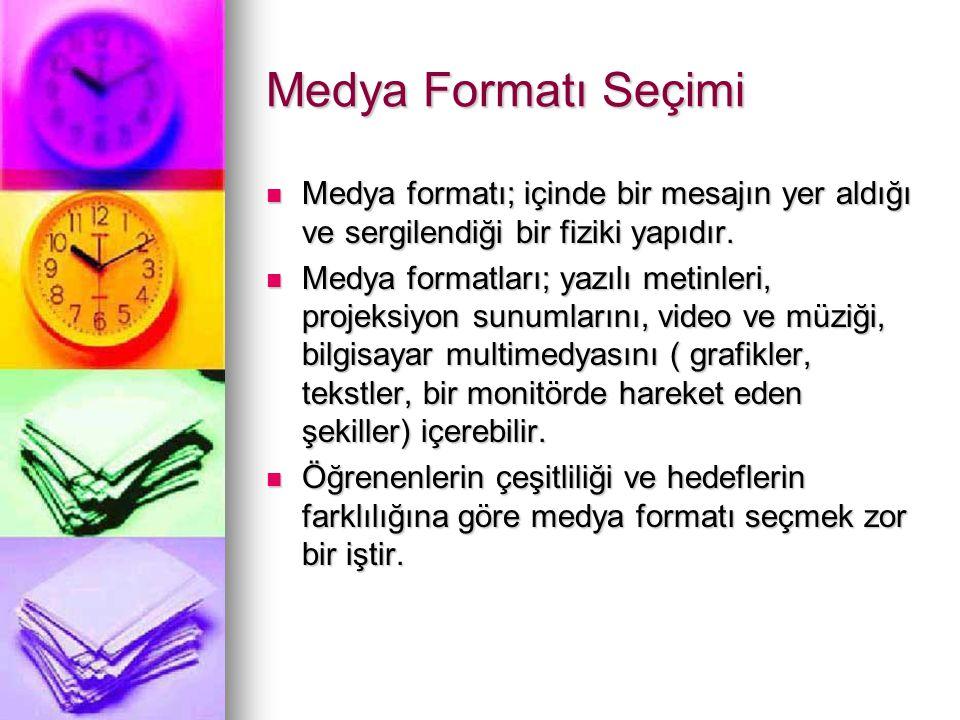 Medya Formatı Seçimi Medya formatı; içinde bir mesajın yer aldığı ve sergilendiği bir fiziki yapıdır.