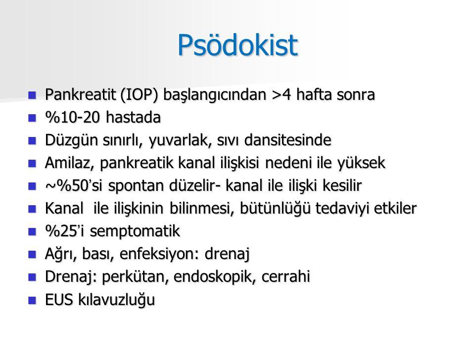 Psödokist Pankreatit (IOP) başlangıcından >4 hafta sonra