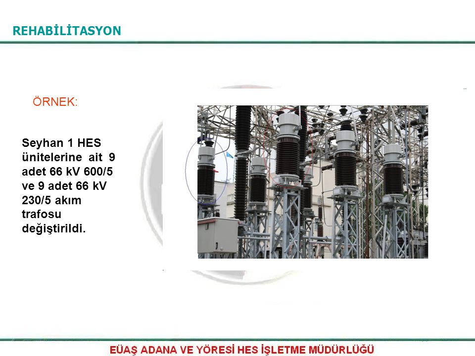 REHABİLİTASYON ÖRNEK: Seyhan 1 HES ünitelerine ait 9 adet 66 kV 600/5 ve 9 adet 66 kV 230/5 akım trafosu değiştirildi.