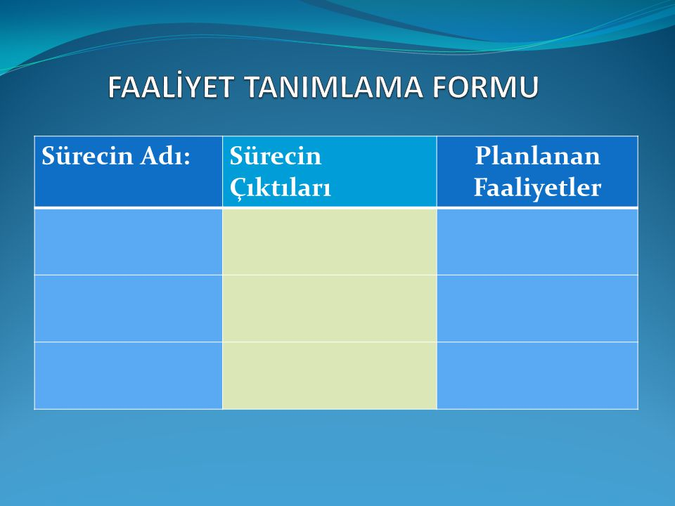 FAALİYET TANIMLAMA FORMU