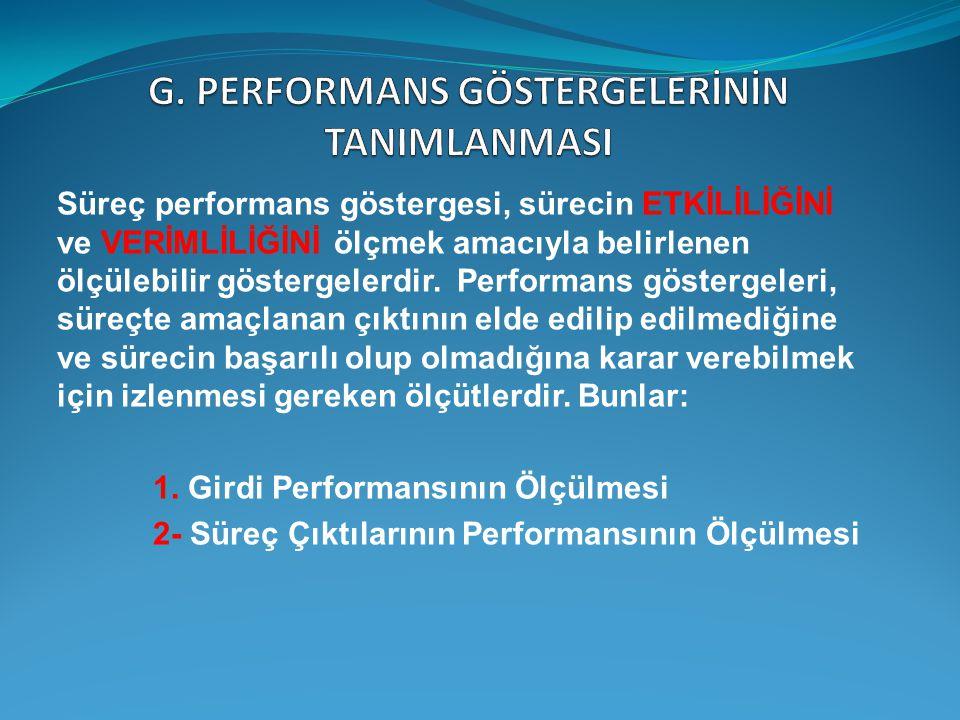 G. PERFORMANS GÖSTERGELERİNİN TANIMLANMASI