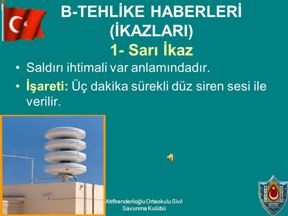 B-TEHLİKE HABERLERİ (İKAZLARI) 1- Sarı İkaz