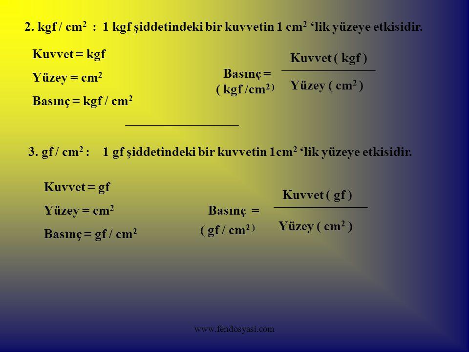 1 kgf şiddetindeki bir kuvvetin 1 cm2 'lik yüzeye etkisidir.