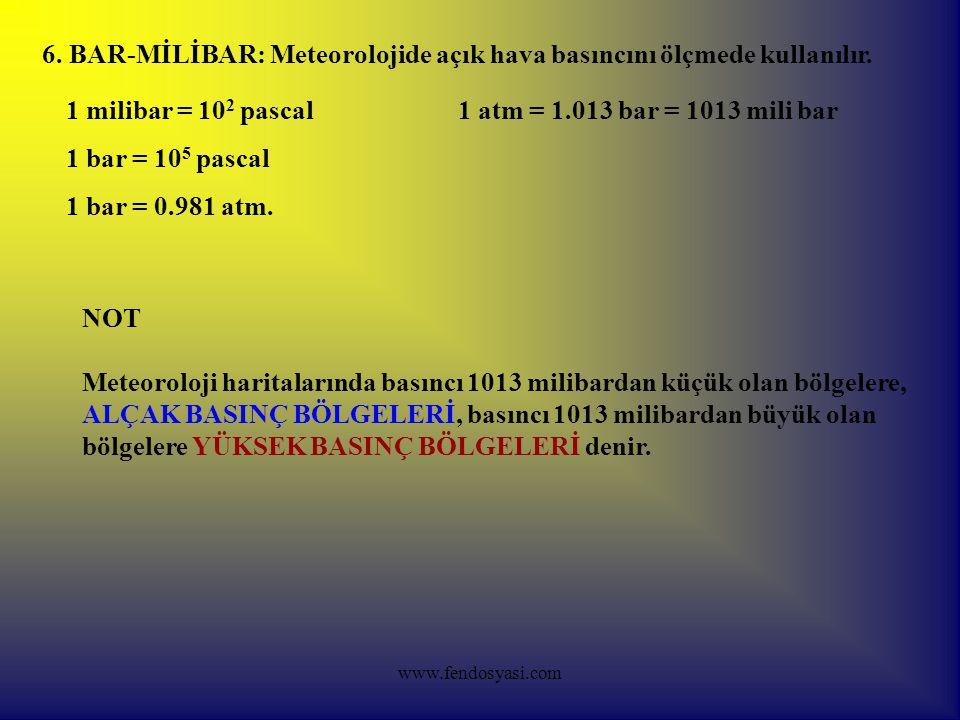 6. BAR-MİLİBAR: Meteorolojide açık hava basıncını ölçmede kullanılır.