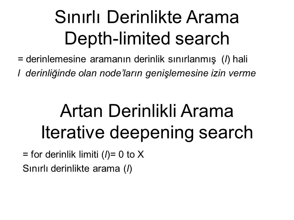Sınırlı Derinlikte Arama Depth-limited search