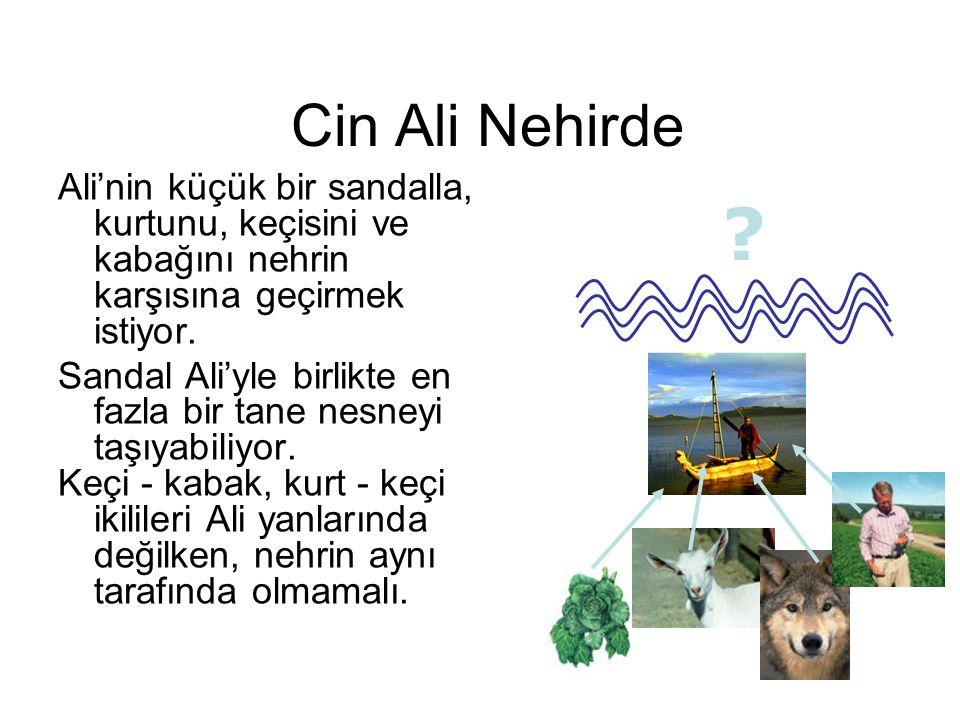 Cin Ali Nehirde Ali'nin küçük bir sandalla, kurtunu, keçisini ve kabağını nehrin karşısına geçirmek istiyor.