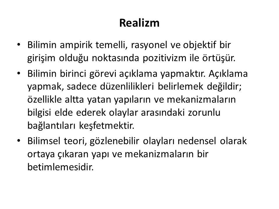 Realizm Bilimin ampirik temelli, rasyonel ve objektif bir girişim olduğu noktasında pozitivizm ile örtüşür.