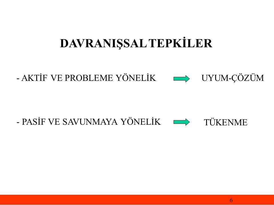 DAVRANIŞSAL TEPKİLER - AKTİF VE PROBLEME YÖNELİK