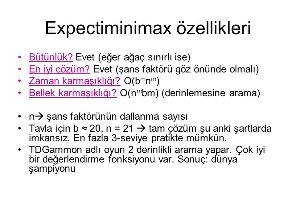 Expectiminimax özellikleri