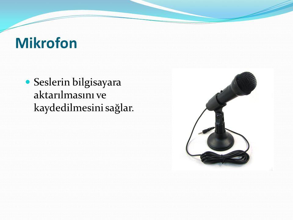 Mikrofon Seslerin bilgisayara aktarılmasını ve kaydedilmesini sağlar.