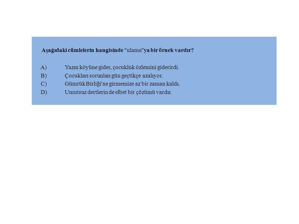 Aşağıdaki cümlelerin hangisinde ulama ya bir örnek vardır