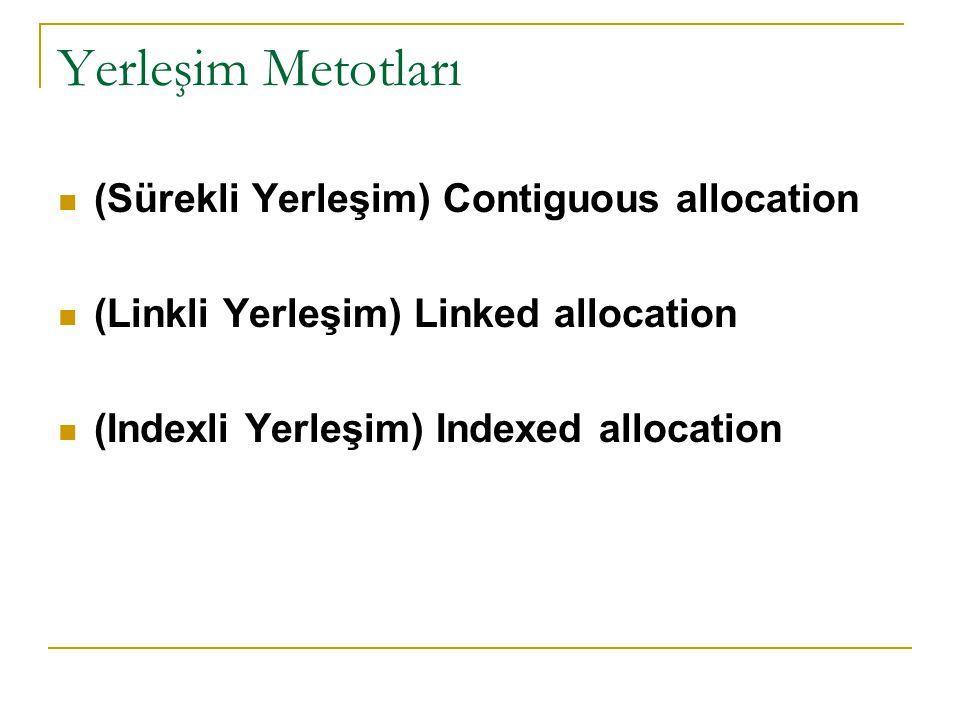Yerleşim Metotları (Sürekli Yerleşim) Contiguous allocation