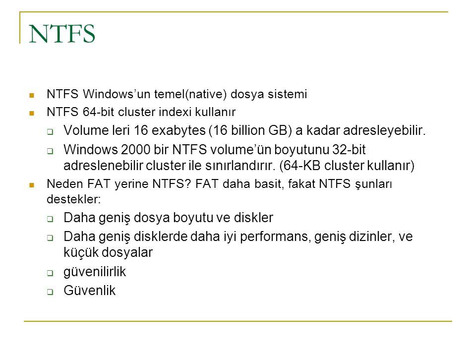 NTFS Volume leri 16 exabytes (16 billion GB) a kadar adresleyebilir.