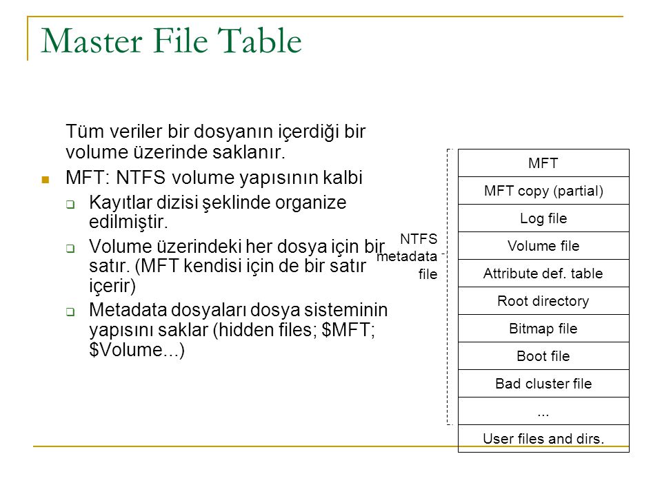 Master File Table Tüm veriler bir dosyanın içerdiği bir volume üzerinde saklanır. MFT: NTFS volume yapısının kalbi.